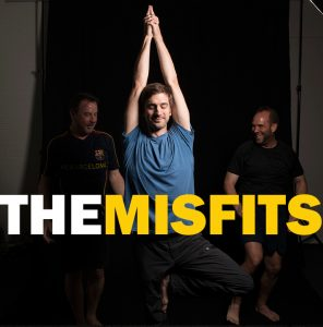 """album cover with man doing yoga pose with """"The Misfits"""" printed on top"""